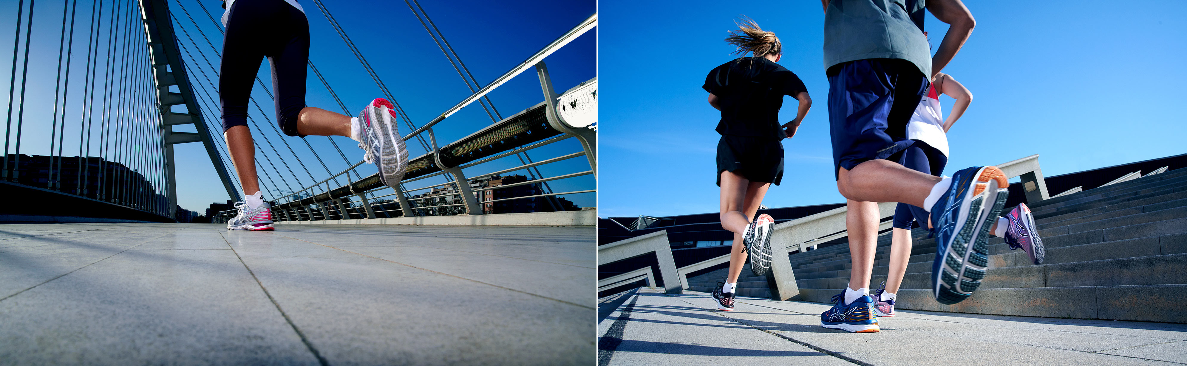 Good Boy Wolf Photographer, filmic portrait,  group of runners running along some stairs for Asics