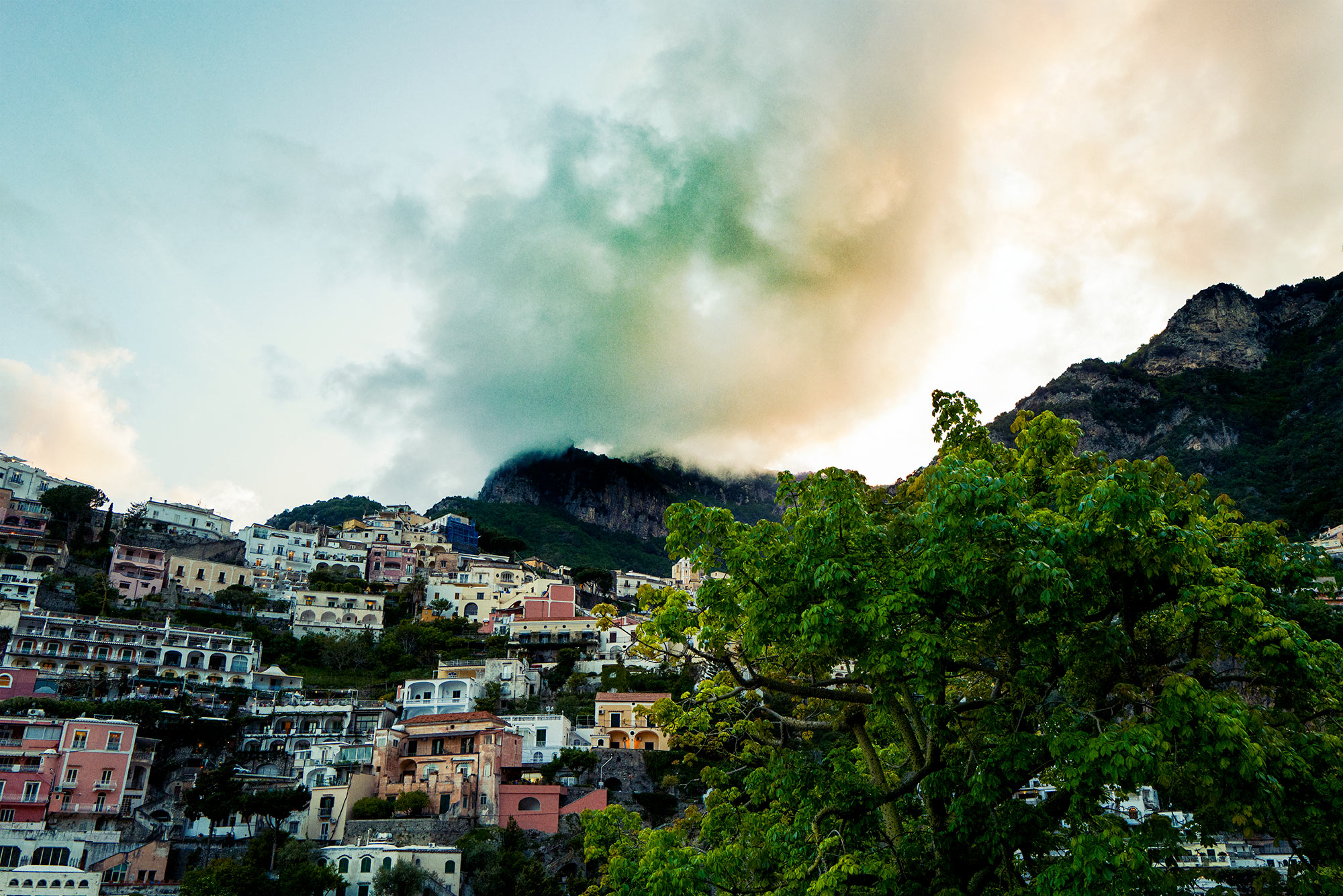 Good Boy Wolf Photographer, filmic landscape, Positano buildings looking up to the sky