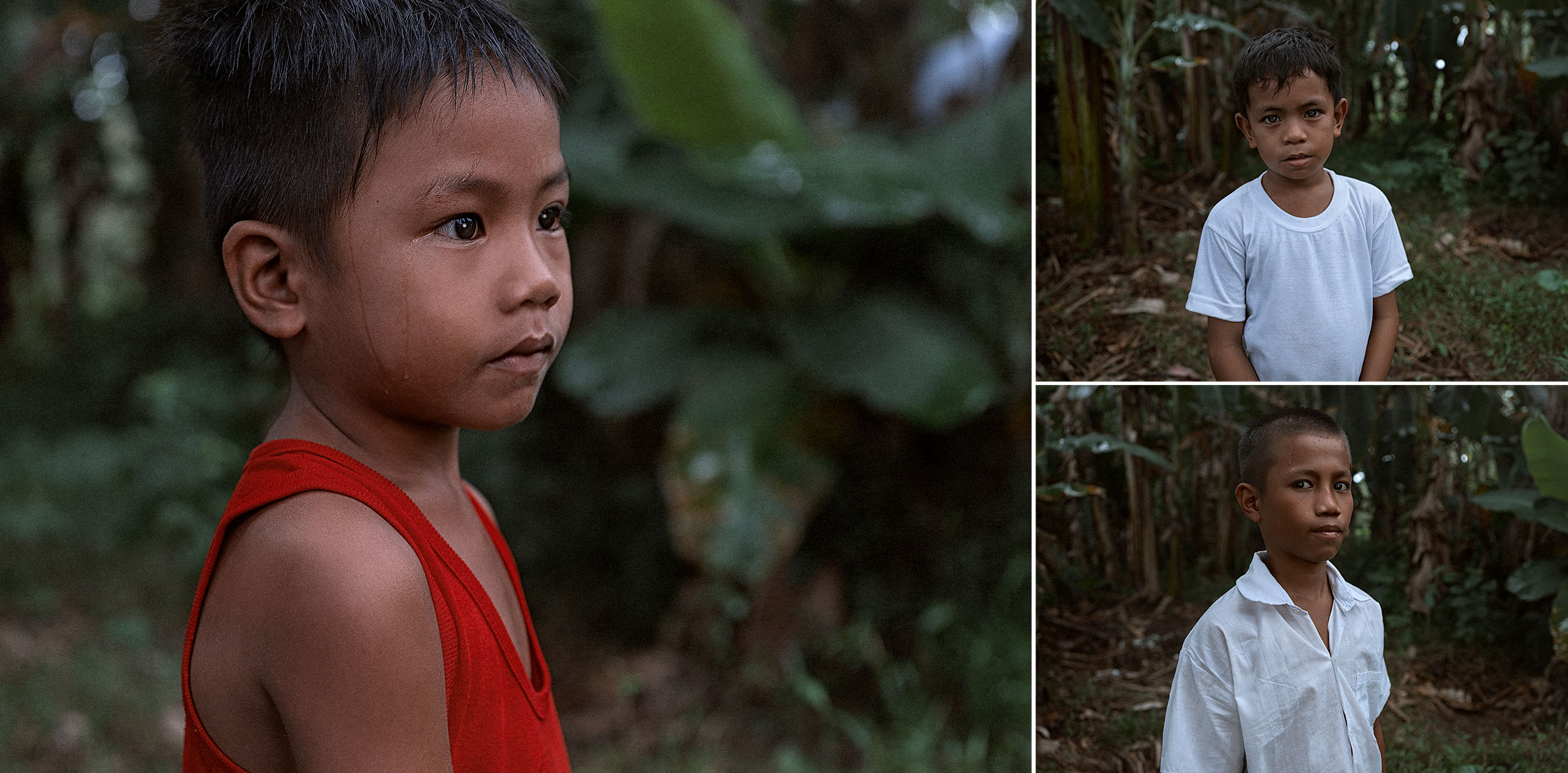 Good Boy Wolf Photographer, Philippines, little child wearing a red vest, looking sad