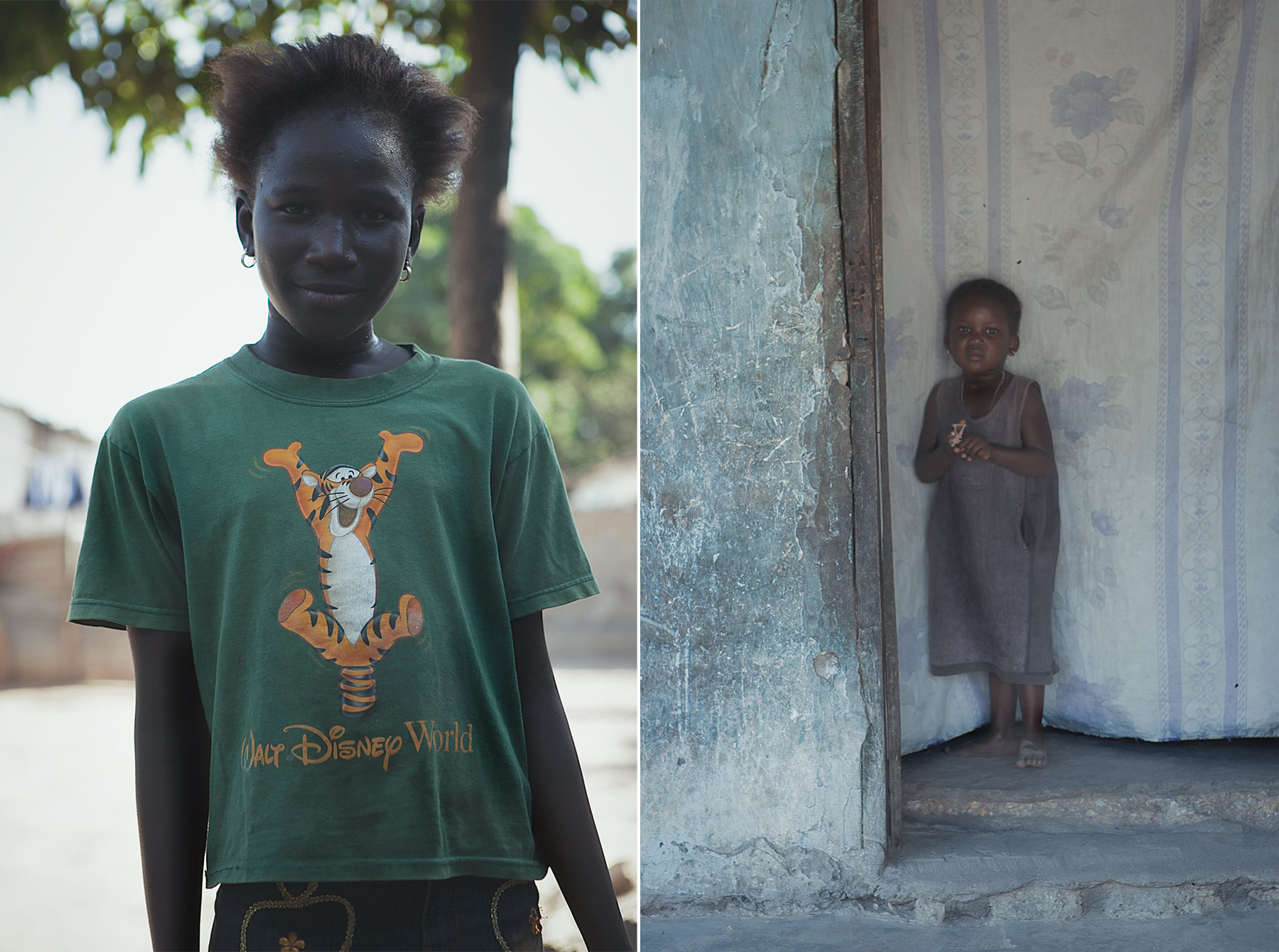 Good Boy Wolf Photographer, Gambia, west Africa, two poor young girls