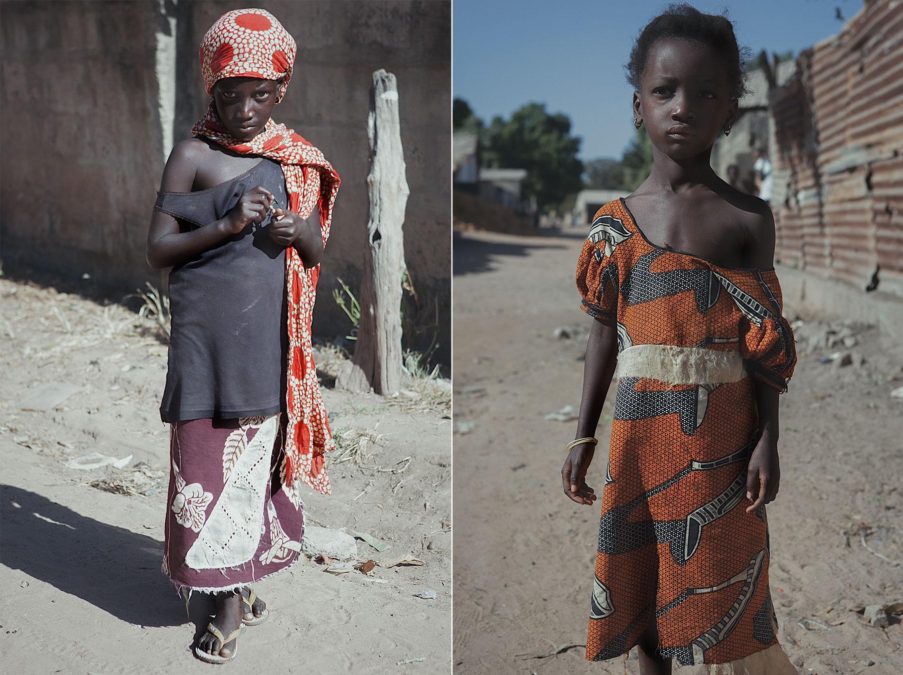 Good Boy Wolf Photographer, Gambia, west Africa, poor children wearing traditional dress