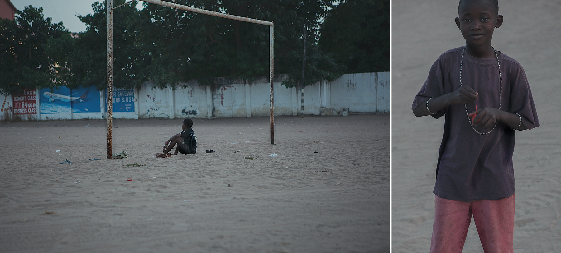 Good Boy Wolf Photographer, Gambia, west Africa, goal keeper sitting on the floor