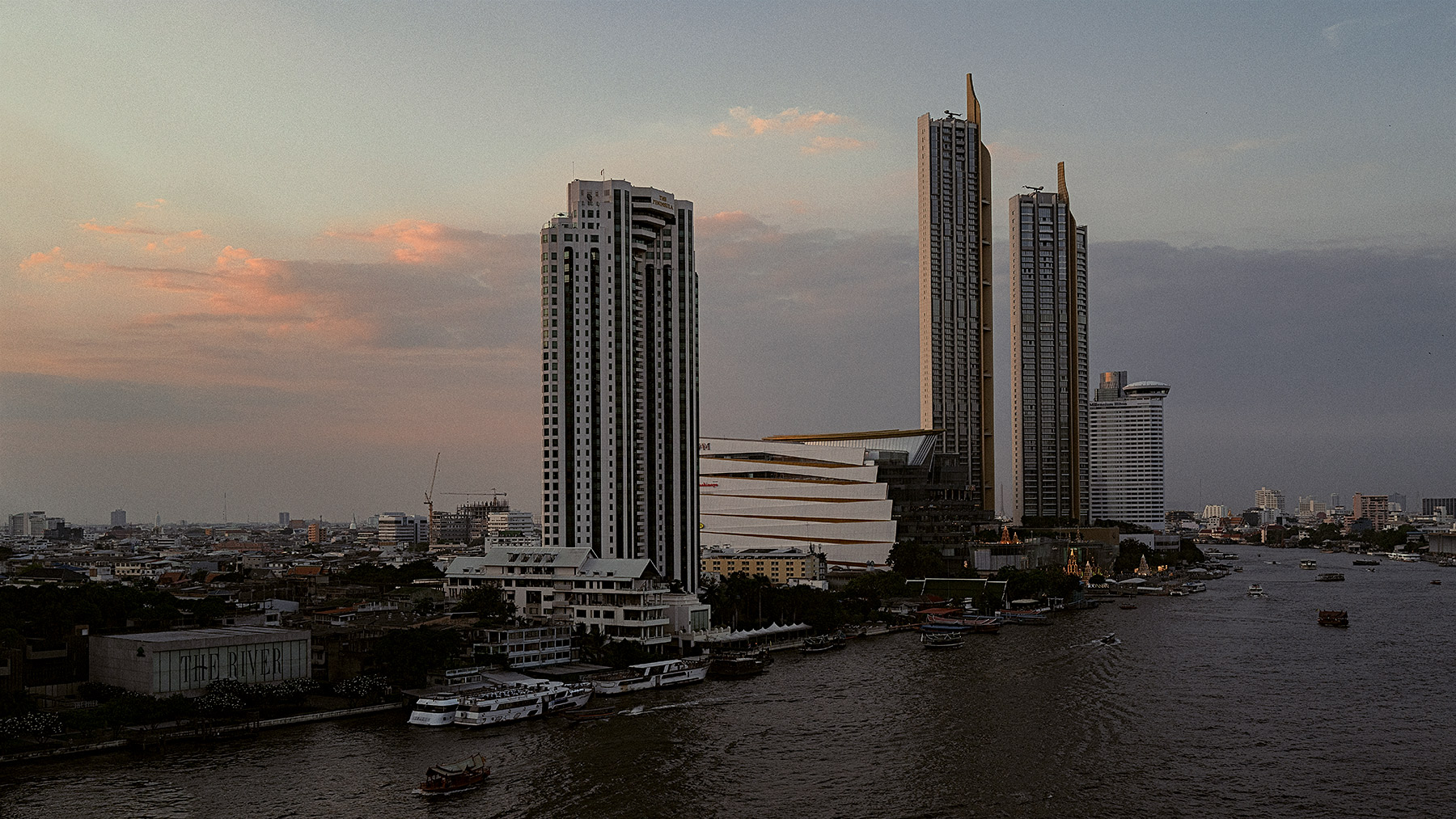 Good Boy Wolf Photographer, filmic landscape, Bangkok skyline, high rise buildings