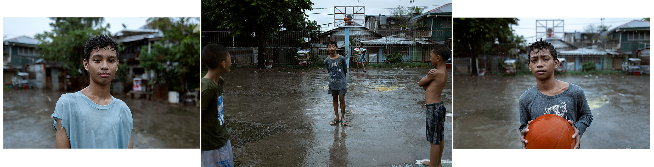 Good Boy Wolf Photographer, Philippines, basketball boys playing in the rain