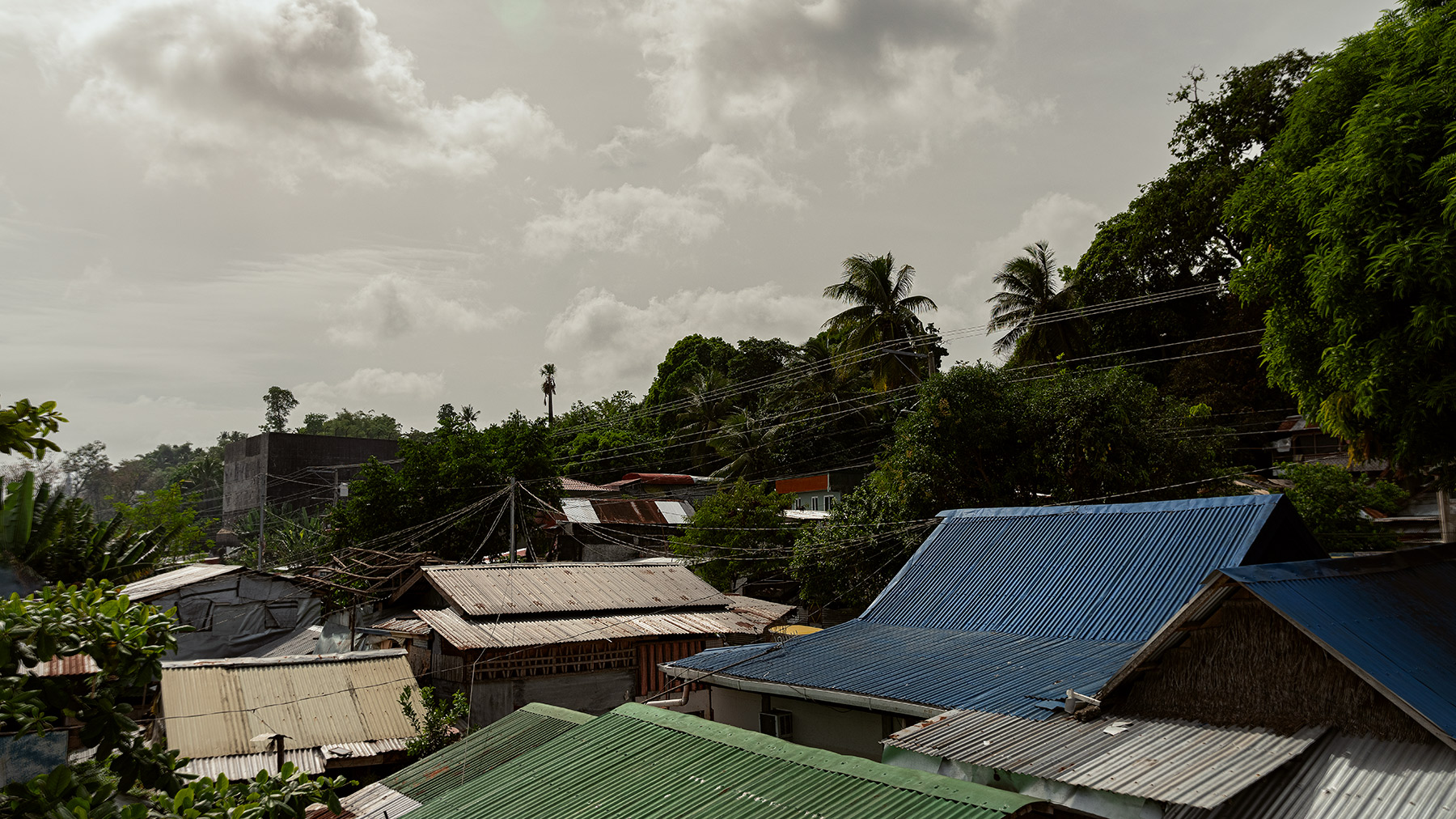Good Boy Wolf Photographer, filmic landscape, Philippines , Taclobhan roof tops with blue roof