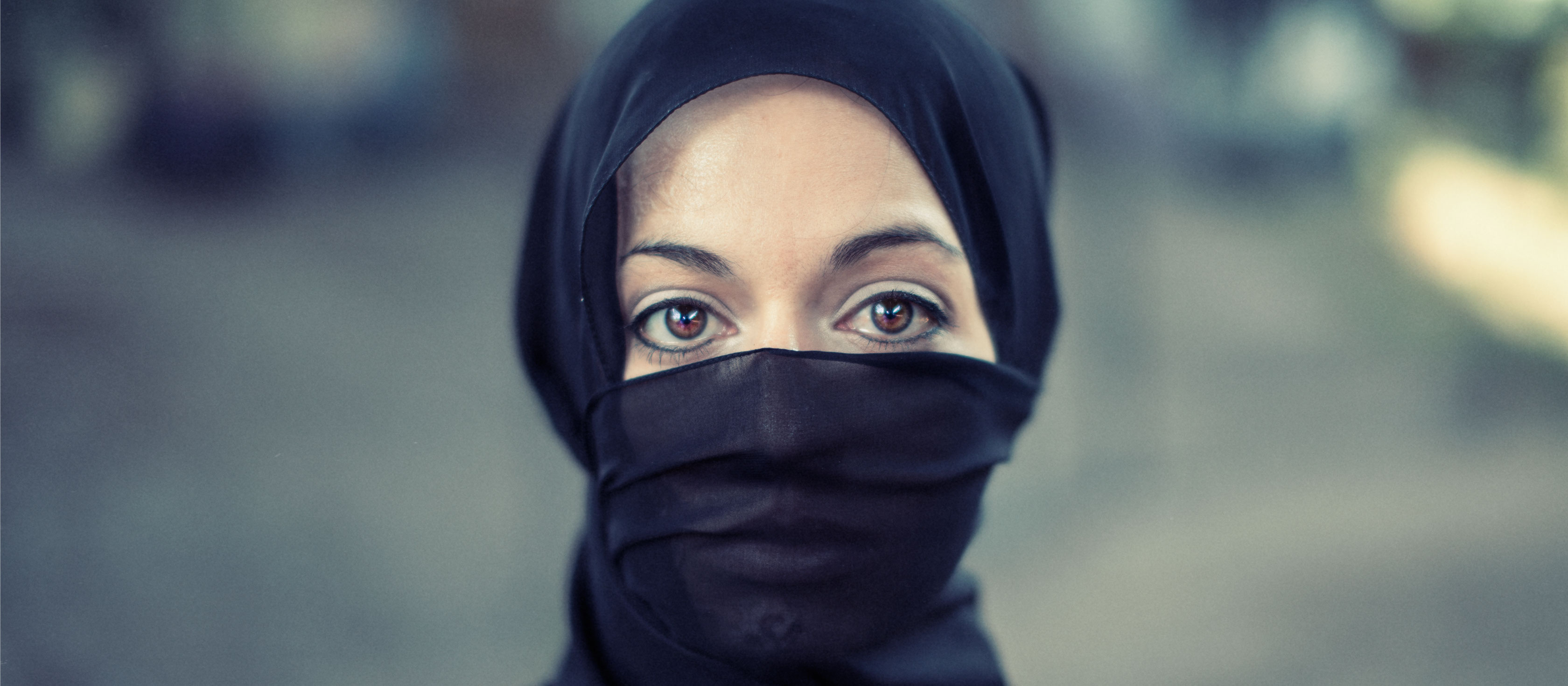 Good Boy Wolf Photographer, filmic portrait, Muslim lady wearing burka