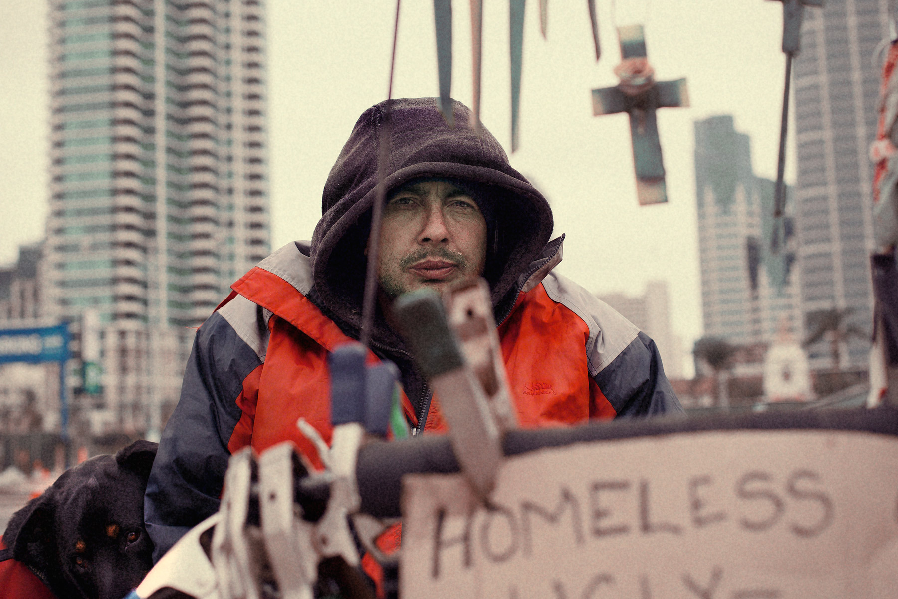 Good Boy Wolf Photographer, filmic portrait, homeless man behind his begging sign