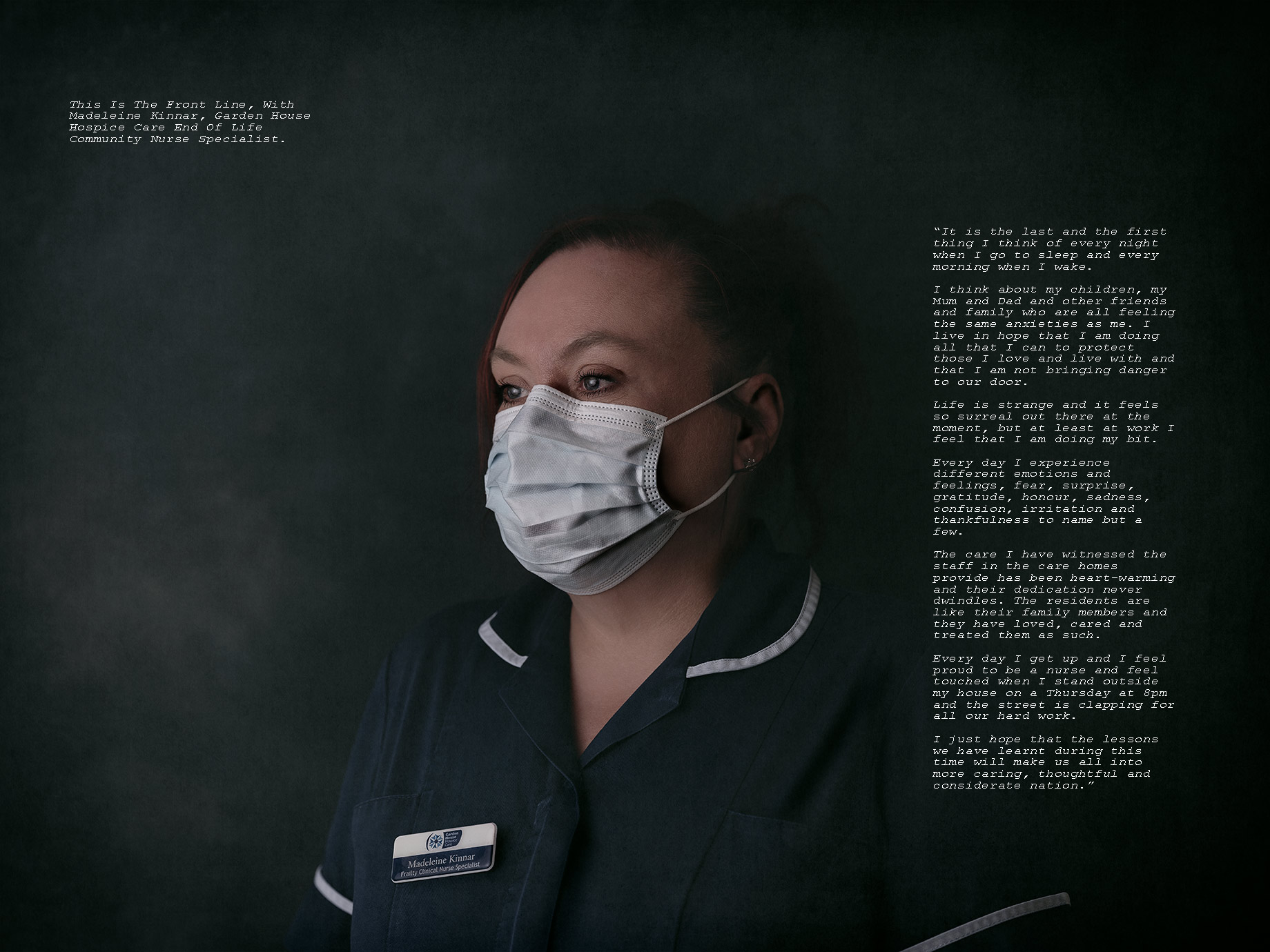Nurse wearing mask looking tired, Good Boy Wolf Photographer, UK